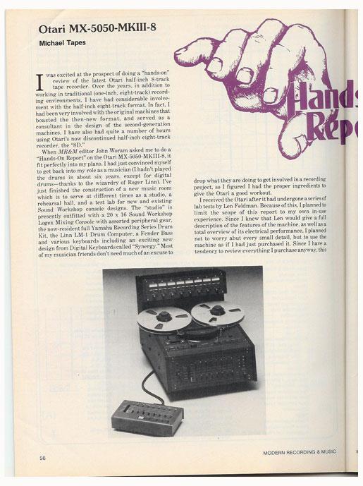 picture of 1983 Otari MX 5050 MK III 8 review in Reel2ReelTexas' vintage reel to reel tape recorder documentation collection