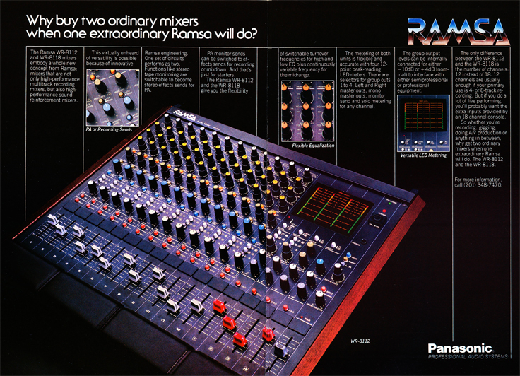 1983 ad for the Panasonic Ramsa mixing console in Reel2ReelTexas.com's vintage recording collection