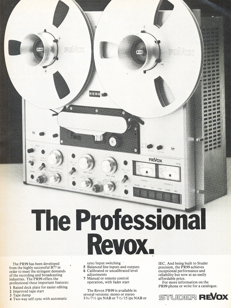 1983 ad for the Studer ReVox PR99 professional reel to reel tape recorder in Reel2ReelTexas.com vintage tape recorder collection