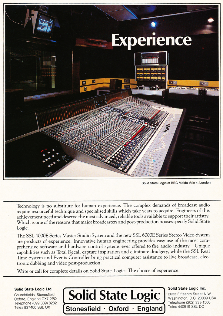 1983 ad for the Solid State Logic mixing console in Reel2ReelTexas.com's vintage recording collection