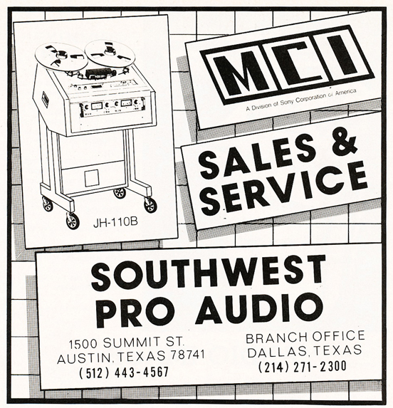 1983 ad for Southwest Pro Sound in Reel2ReelTexas.com's vintage recording collection