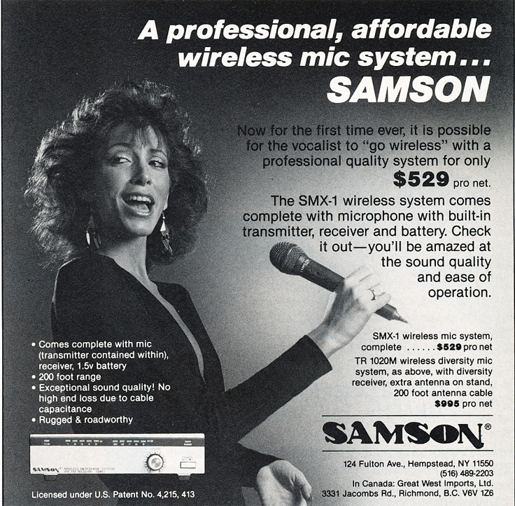 1983 ad for the Samson SMX-1 wireless microphone in Reel2ReelTexas.com's vintage recording collection