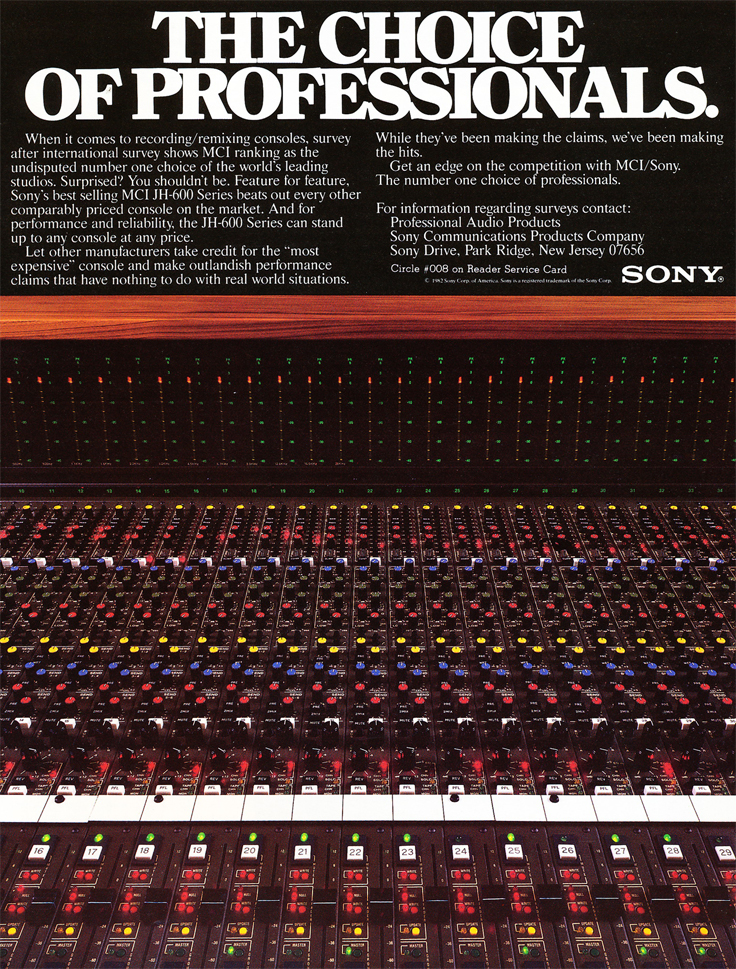 1983 ad for the Sony mixing console in Reel2ReelTexas.com's vintage recording collection