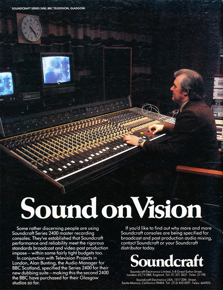 1983 ad for the Soundcraft mixing console in Reel2ReelTexas.com's vintage recording collection