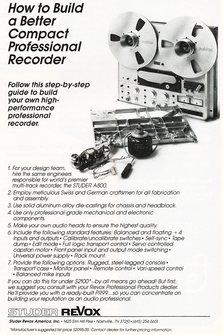 1983 ad for the Studer ReVox A800 professional reel to reel tape recorder in Reel2ReelTexas.com vintage tape recorder collection