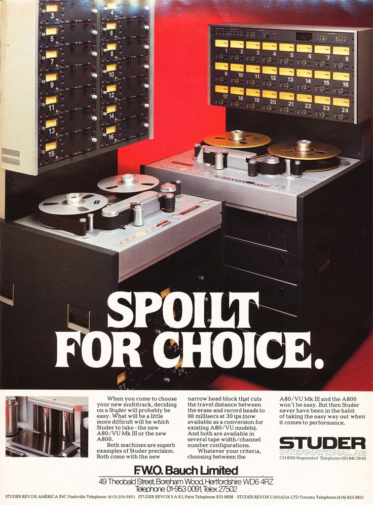 1983 ad for the Studer A80 & A800  professional reel to reel tape recorder in Reel2ReelTexas.com vintage tape recorder collection