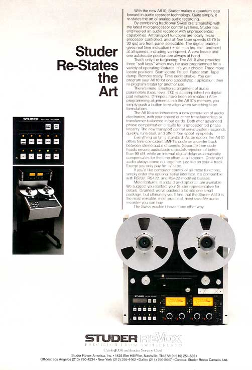 1983 ad for the Studer A810 professional reel to reel tape recorder in Reel2ReelTexas.com vintage tape recorder collection