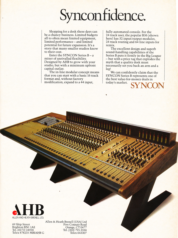 1983 ad for the Sycon  mixing console in Reel2ReelTexas.com's vintage recording collection