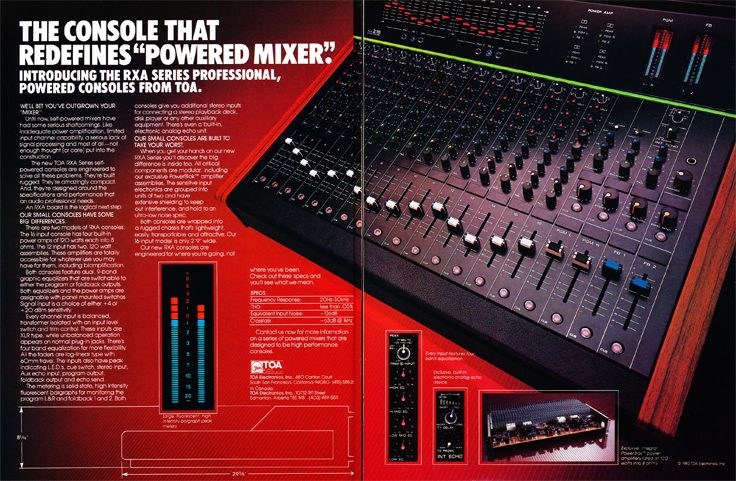 1983 ad for the TOA mixing console in Reel2ReelTexas.com's vintage recording collection