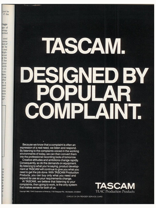 picture of 1983 Tascam ad in Reel2ReelTexas' vintage reel to reel tape recorder documentation collection