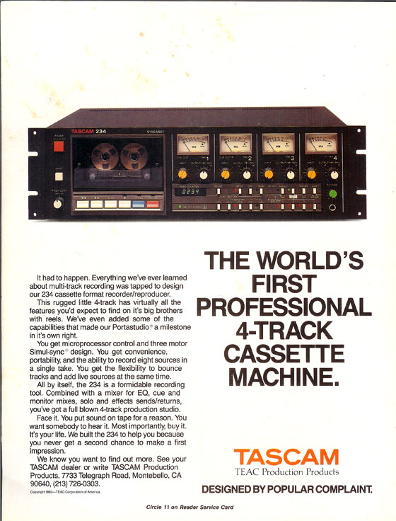1983 ad for the Tascam 234 multitrack cassette recorder in Phantom's vintage tape recording collection