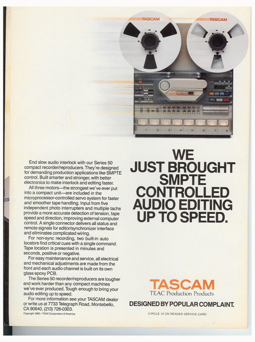 picture of 1983 Tascam 58 ad in Reel2ReelTexas' vintage reel to reel tape recorder documentation collection