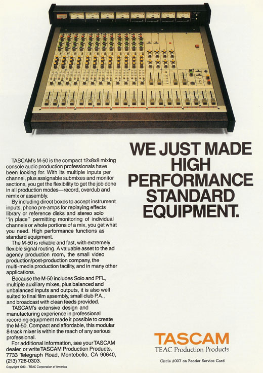 Tascam M-50 mixer  1983 ad in Phantom Productions, Inc.'s vintage reel to reel tape recorder collection