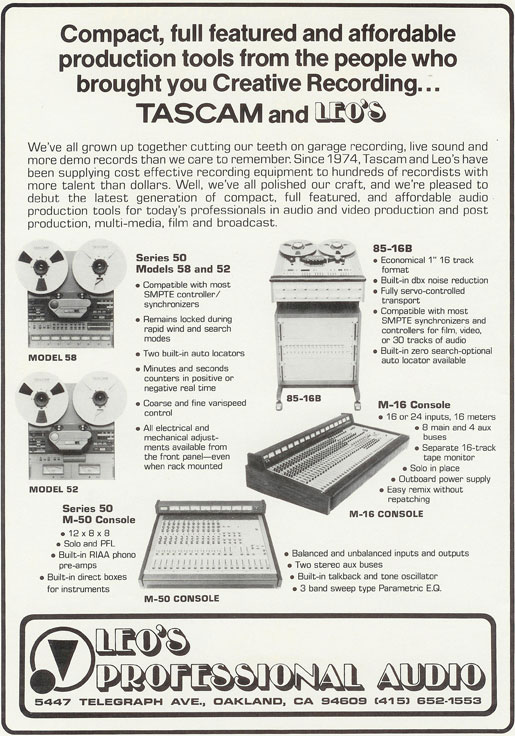Misc Tascam recorders in 1983 ad in Phantom Productions, Inc.'s vintage reel to reel tape recorder collection