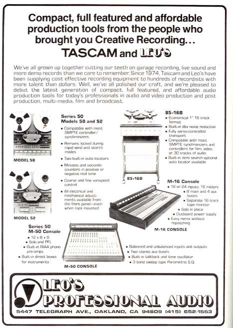 1980 Tascam Model 58 ad in Reel2ReelTexas.com vintage tape recorder collection