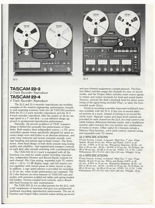 Ad for Tascam 22-2 15 ips half track mastering deck in Phantom Production, Inc.s vintage recording museum
