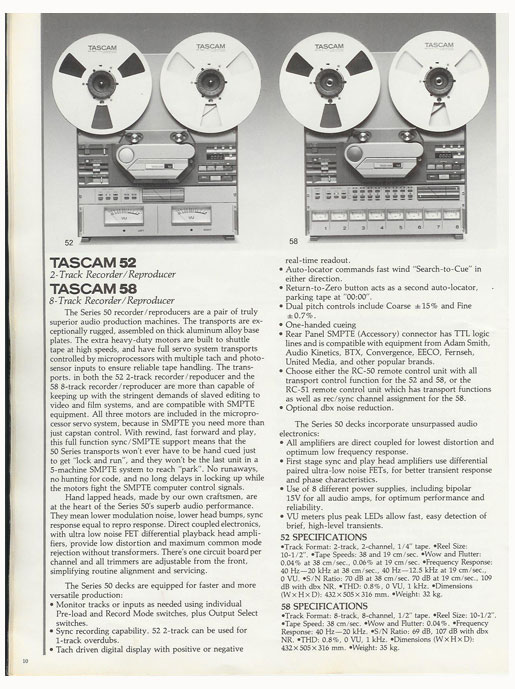 1983 Tascam brochure pages in Reel2ReelTexas' vintage reel to reel tape recorder documentation collection