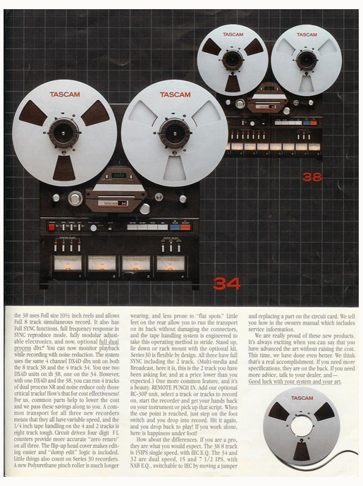 picture of 1983 Tascam brochure pages in Reel2ReelTexas' vintage reel to reel tape recorder documentation collection