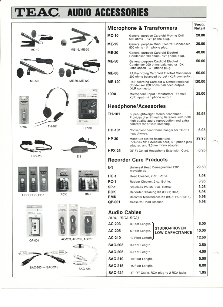 1983 Teac Accessories catalog in Phantom Productions' vintage tape recording collection Page2