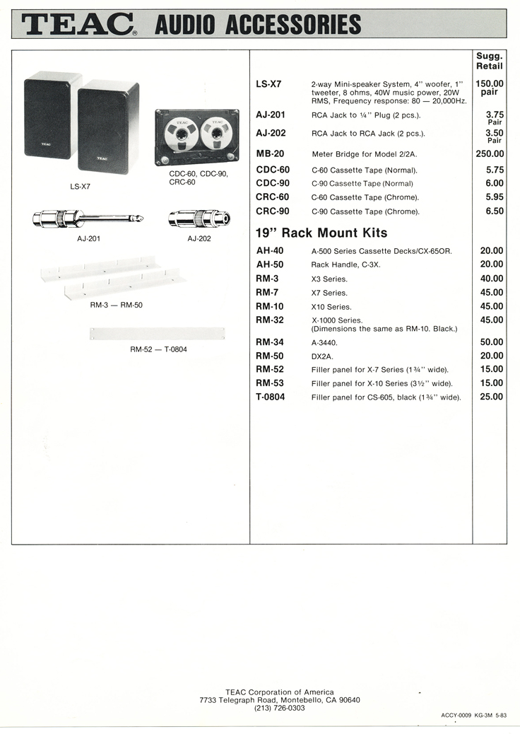 1983 Teac Accessories catalog in Phantom Productions' vintage tape recording collection Page 4