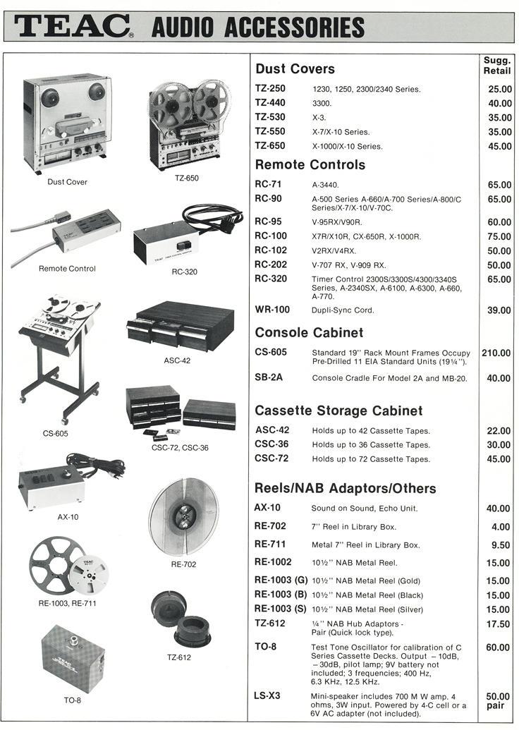 1983 Teac Accessories catalog in Phantom Productions' vintage tape recording collection Page 3