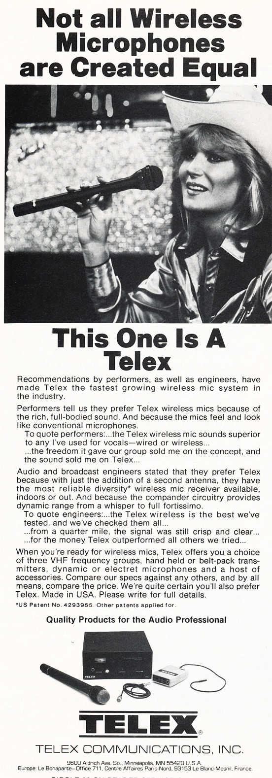 1983 ad for the Telex wireless microphone in Reel2ReelTexas.com's vintage recording collection
