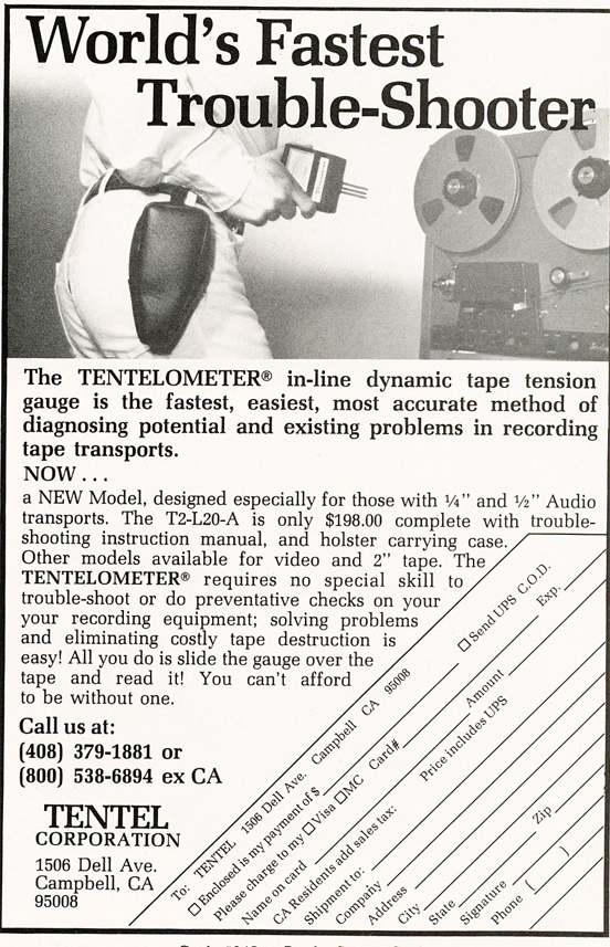 1983 ad for the Tentel  in Reel2ReelTexas.com's vintage recording collection