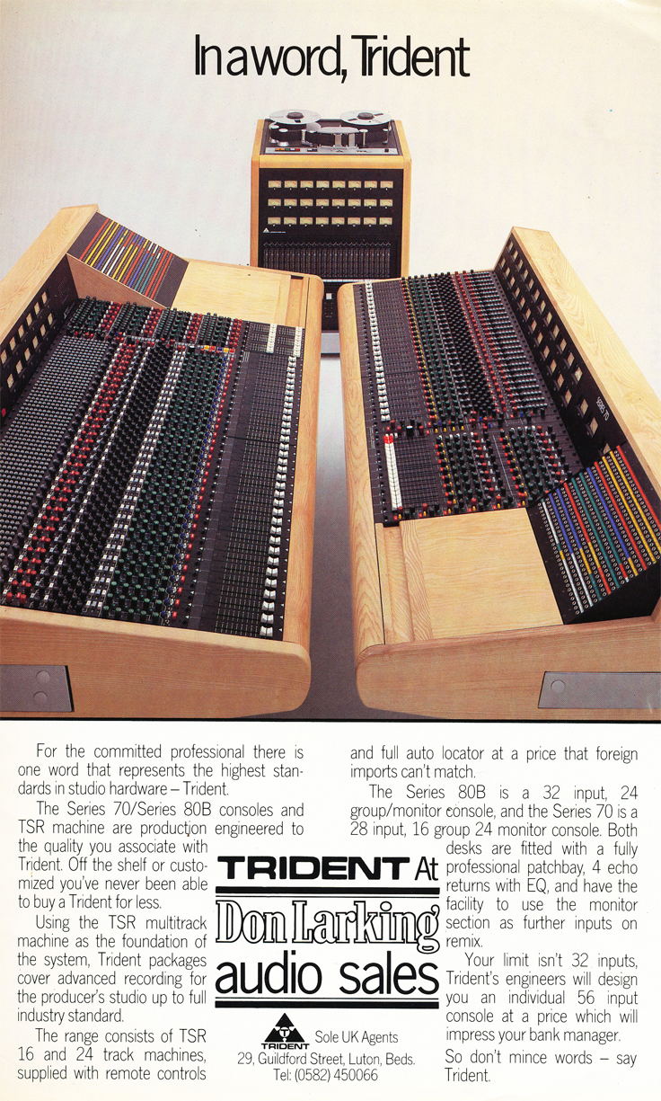 1983 ad for the Trident recording consolein Reel2ReelTexas.com's vintage recording collection