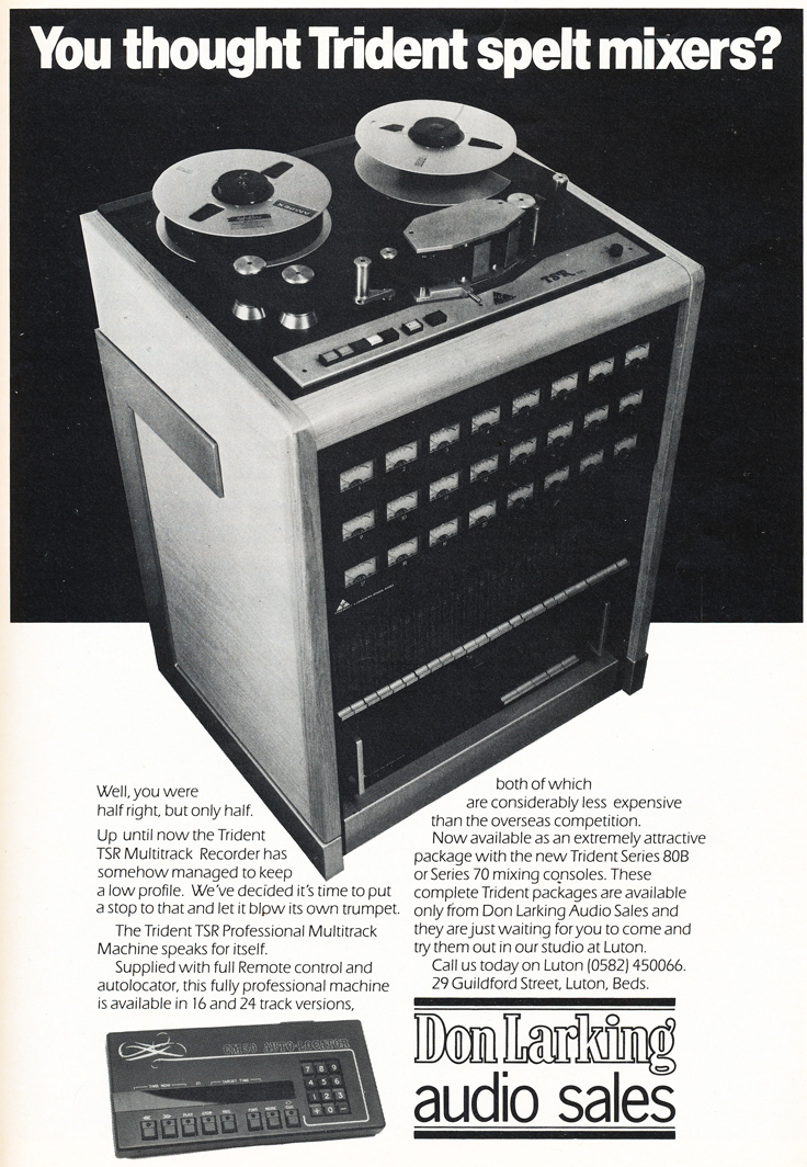 1983 ad for the Trident TSR multitrack professional reel to reel tape recorder  in Reel2ReelTexas.com's vintage recording collection