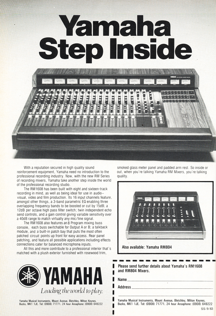 1983 ad for the Yamaha RM1608 mixing console in Reel2ReelTexas.com's vintage recording collection