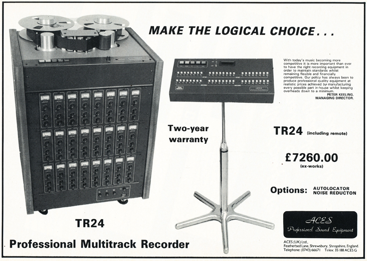 1984 ad for ACES professional recording equipment in the Reel2ReelTexas.com's vintage recording collection