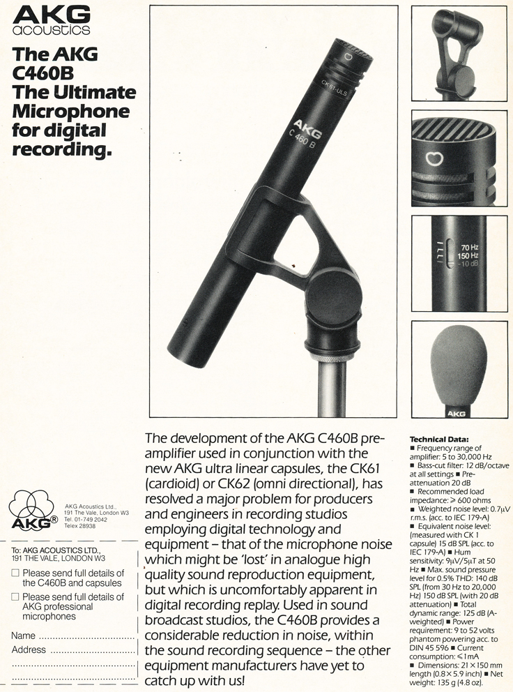 1984 ad for AKG microphones in the Phantom Productions' vintage recording collection