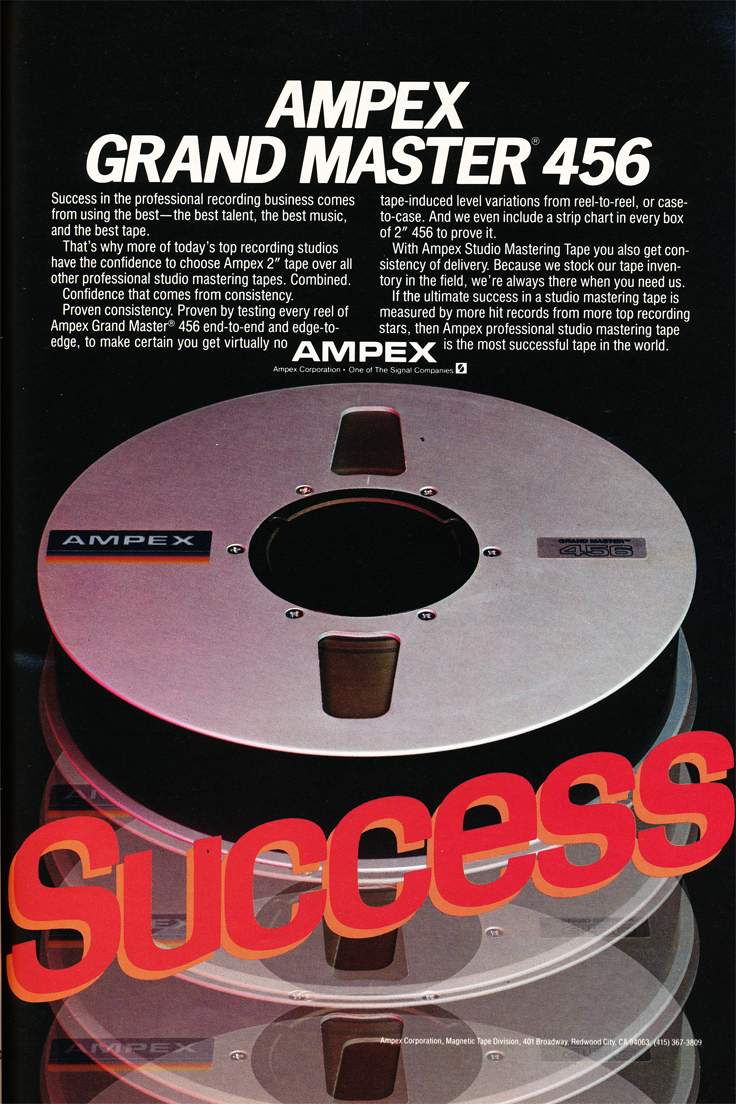 1984 ad for Ampex 456 reel tape recording tape in the Phantom Productions' vintage recording collection