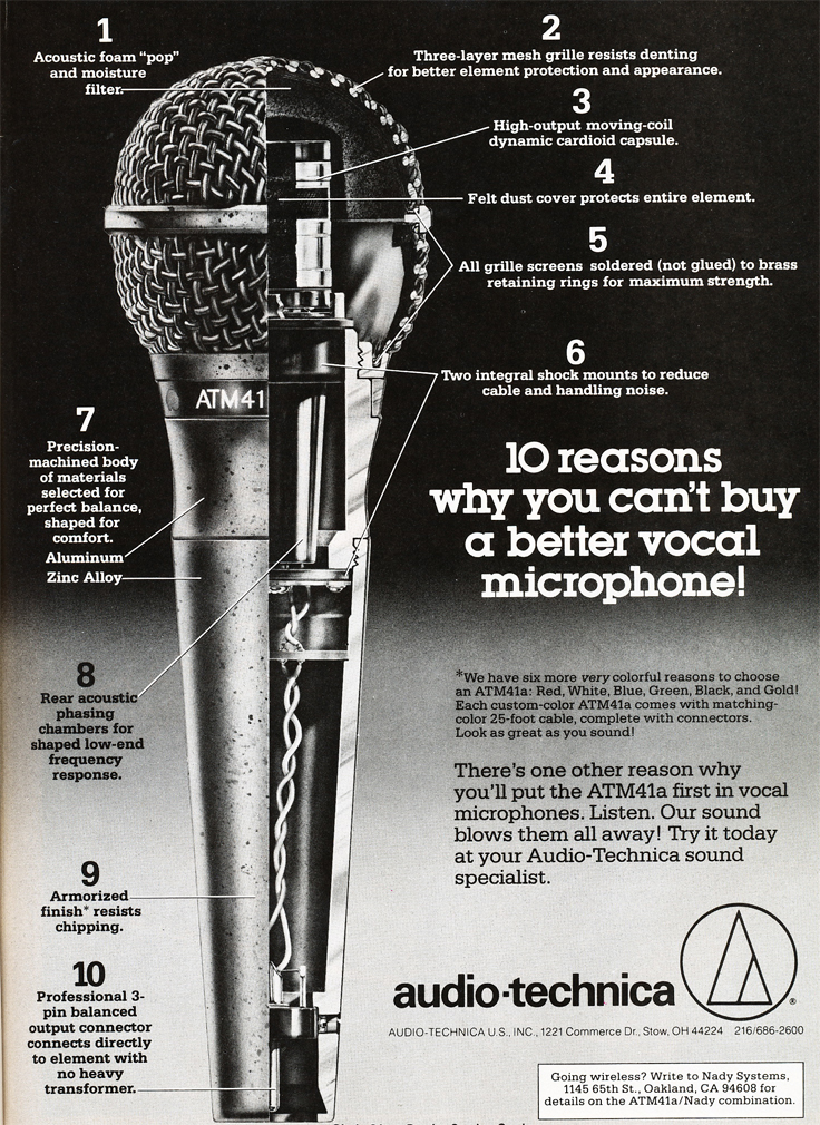 1984 ad for Audio Technica microphones in Reel2ReelTexas.com's vintage recording collection