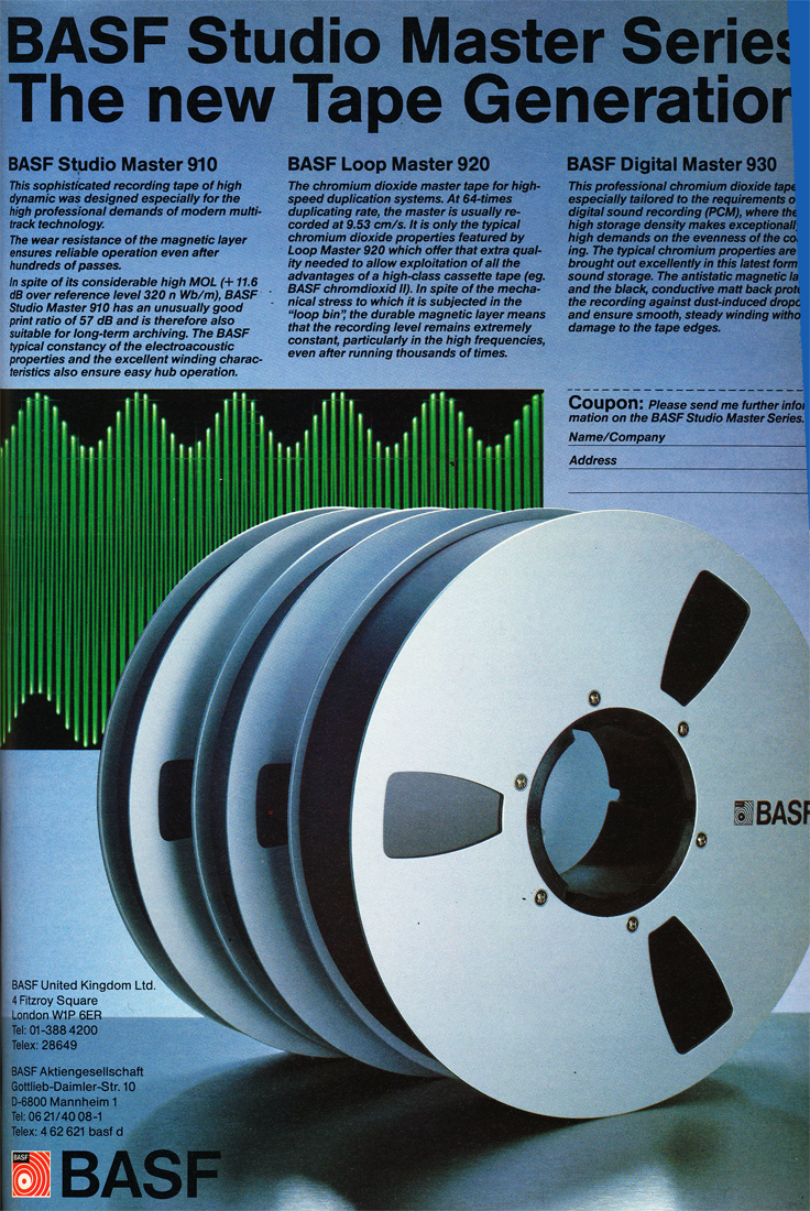 1984 ad for BASF reel tape recording tape in the Reel2ReelTexas.com's vintage recording collection