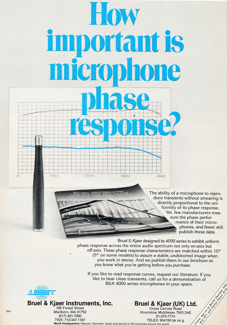 1984 ad for Bruel & Kjaer 4000 Series in the Phantom Productions' vintage recording collection