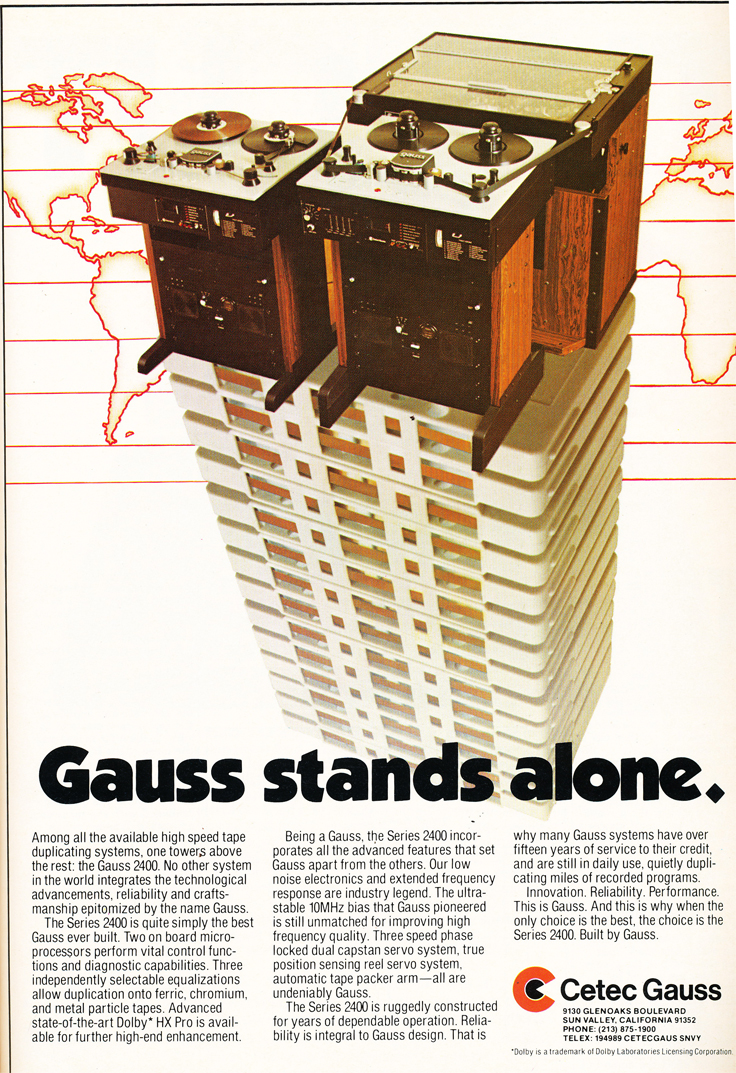 1984 ad for Cetec Gauss high speed tape duplicating in the Reel2ReelTexas.com's vintage recording collection