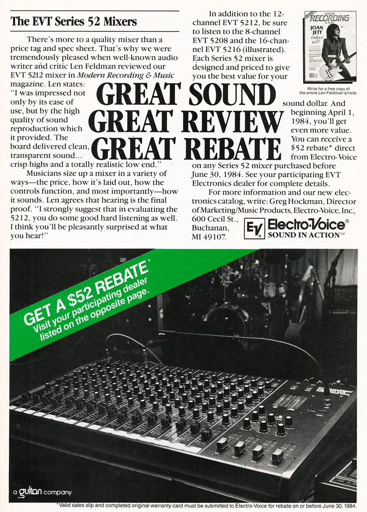 1984 ad for the Electro Voice Series 52 mixer  in Reel2ReelTexas.com's vintage recording collection