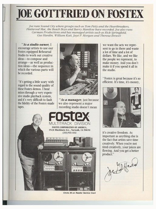 1984 Fostex recorder  ad in Phantom Productions vintage reel to reel tape recorder documentation collection