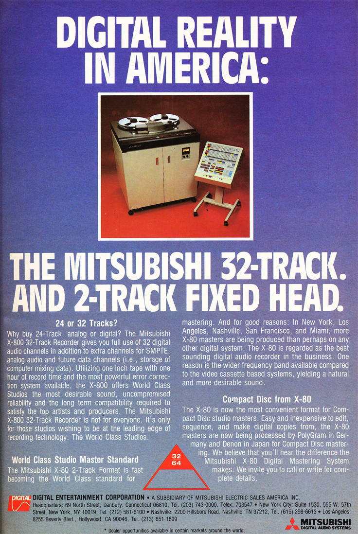 1984 ad Mitsubishi X-800 professional reel to reel tape recorder in the Reel2ReelTexas.com's vintage recording collection