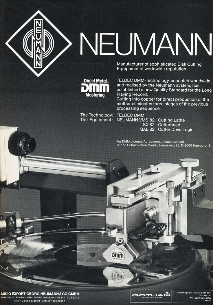 1984 ad for the Neumann recorder cutter in Reel2ReelTexas.com's vintage recording collection
