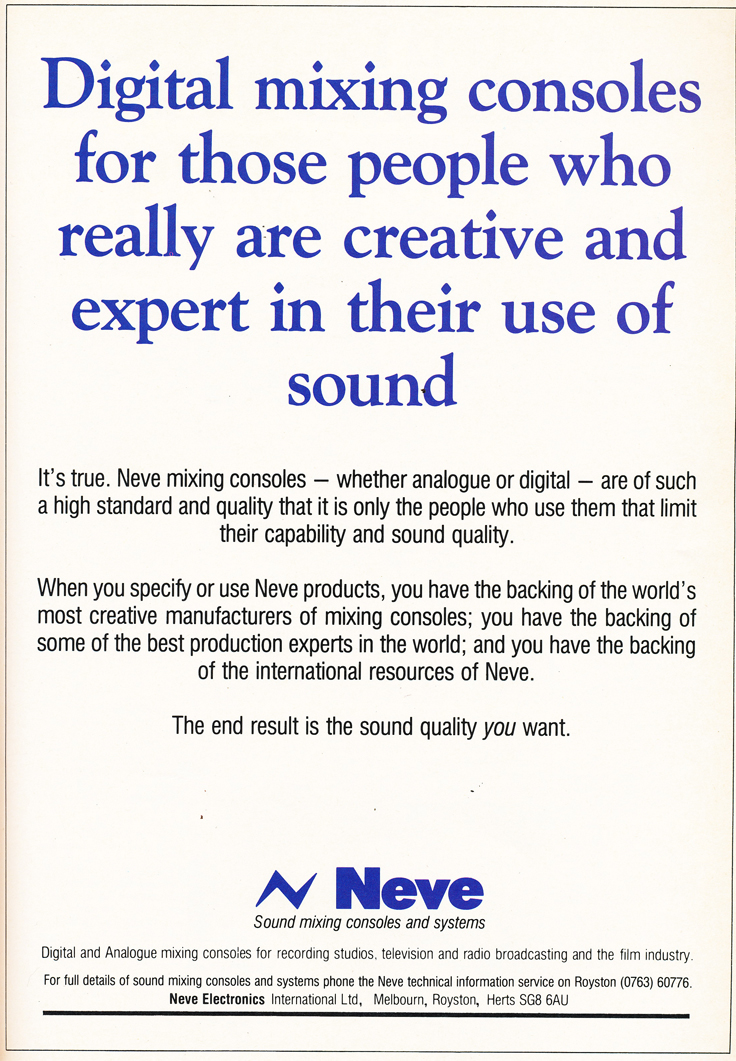 1984 ad for Neve digital recording consoles in the Phantom Productions' vintage recording collection
