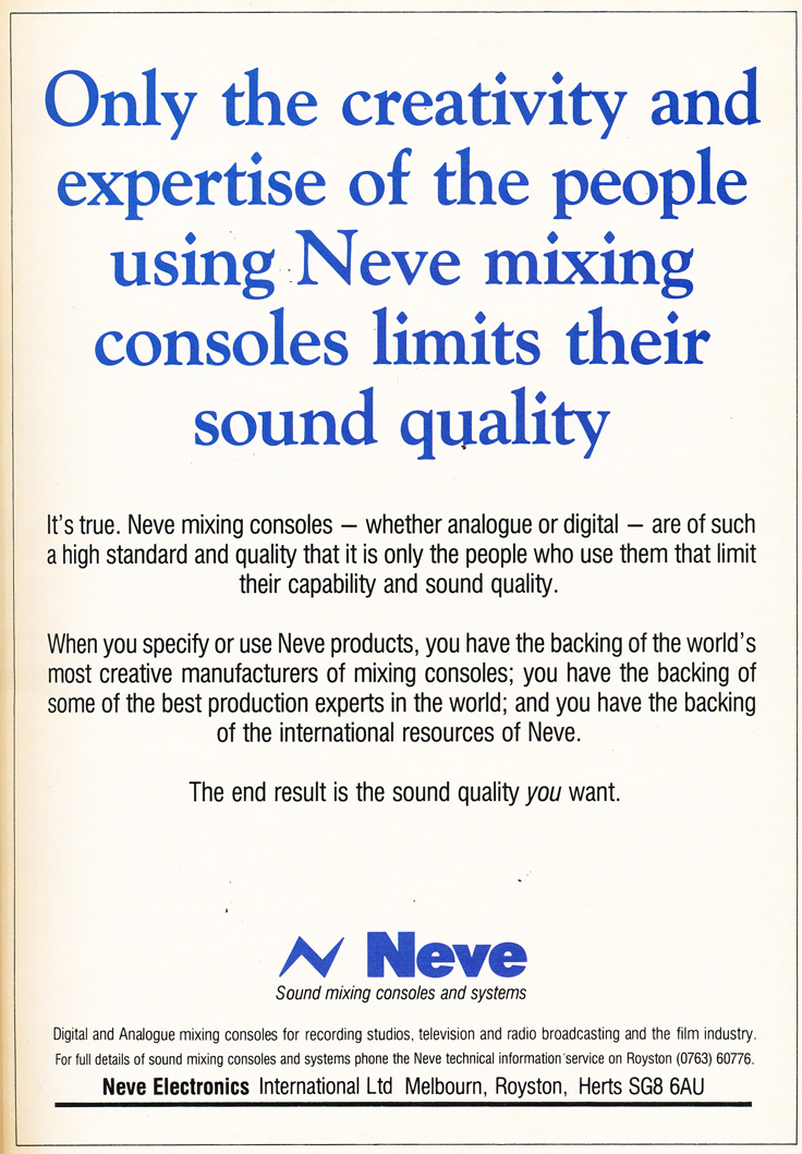 1984 ad for Neve recording consoles in the Reel2ReelTexas.com's vintage recording collection