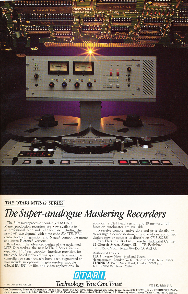 1984 ad for Otari MTR-12  reel to reel tape recorder in the Reel2ReelTexas.com's vintage recording collection