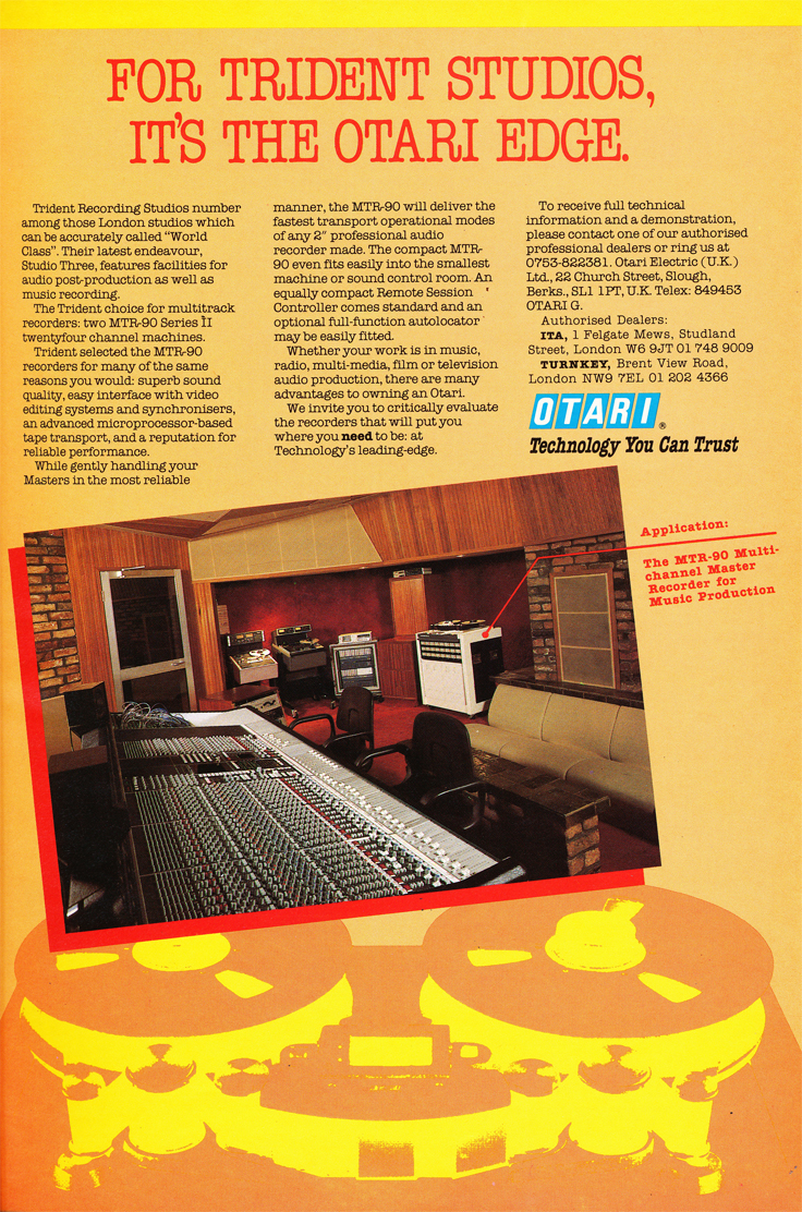 1984 ad for Otari reel to reel tape recorder in the Phantom Productions' vintage recording collection