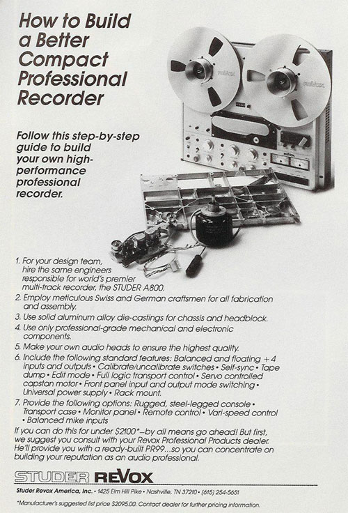 picture of 1984 ReVox B-77 ad in Phantom Productions vintage reel to reel tape recorder documentation collection