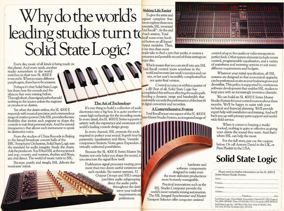 1984 ad for Solid State Logic recording consoles in the Reel2ReelTexas.com's vintage recording collection
