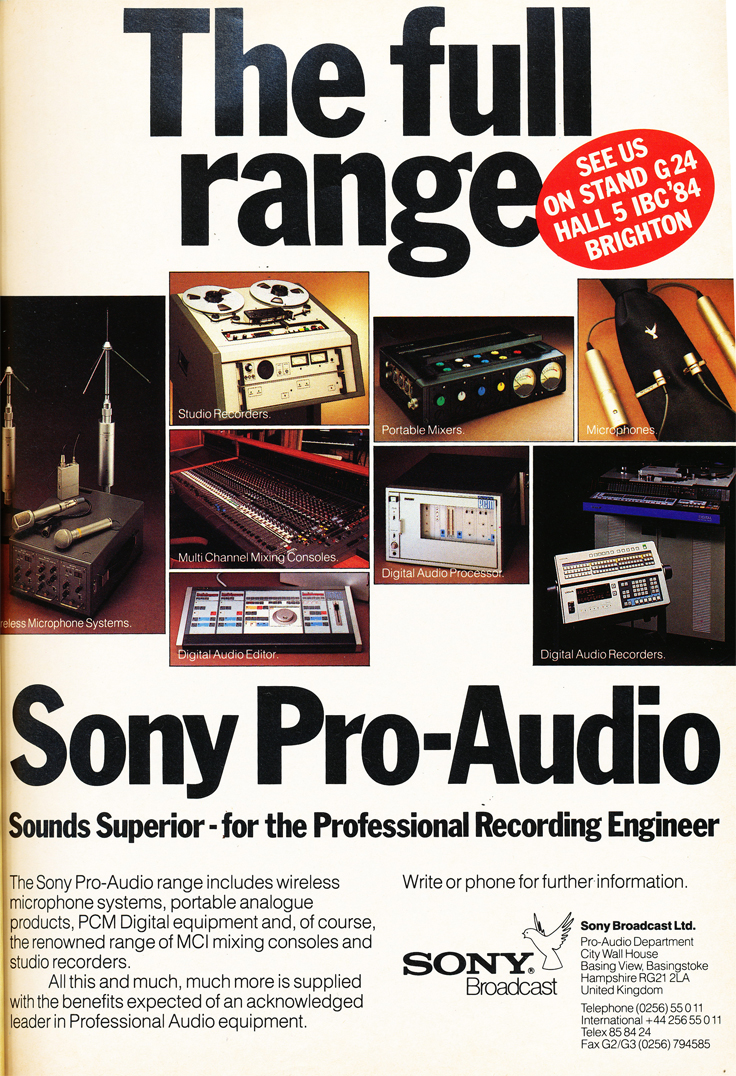 1984 ad for Sony Pro Audio products in the Reel2ReelTexas.com's vintage recording collection