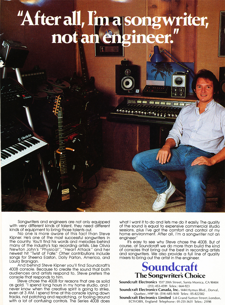 1984 ad for the Soundcraft 400B  mixer  in Phantom Productions' vintage recording collection