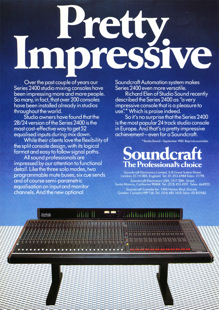 1984 ad for the Soundcraft Series 2400 recording console in Reel2ReelTexas.com's vintage recording collection